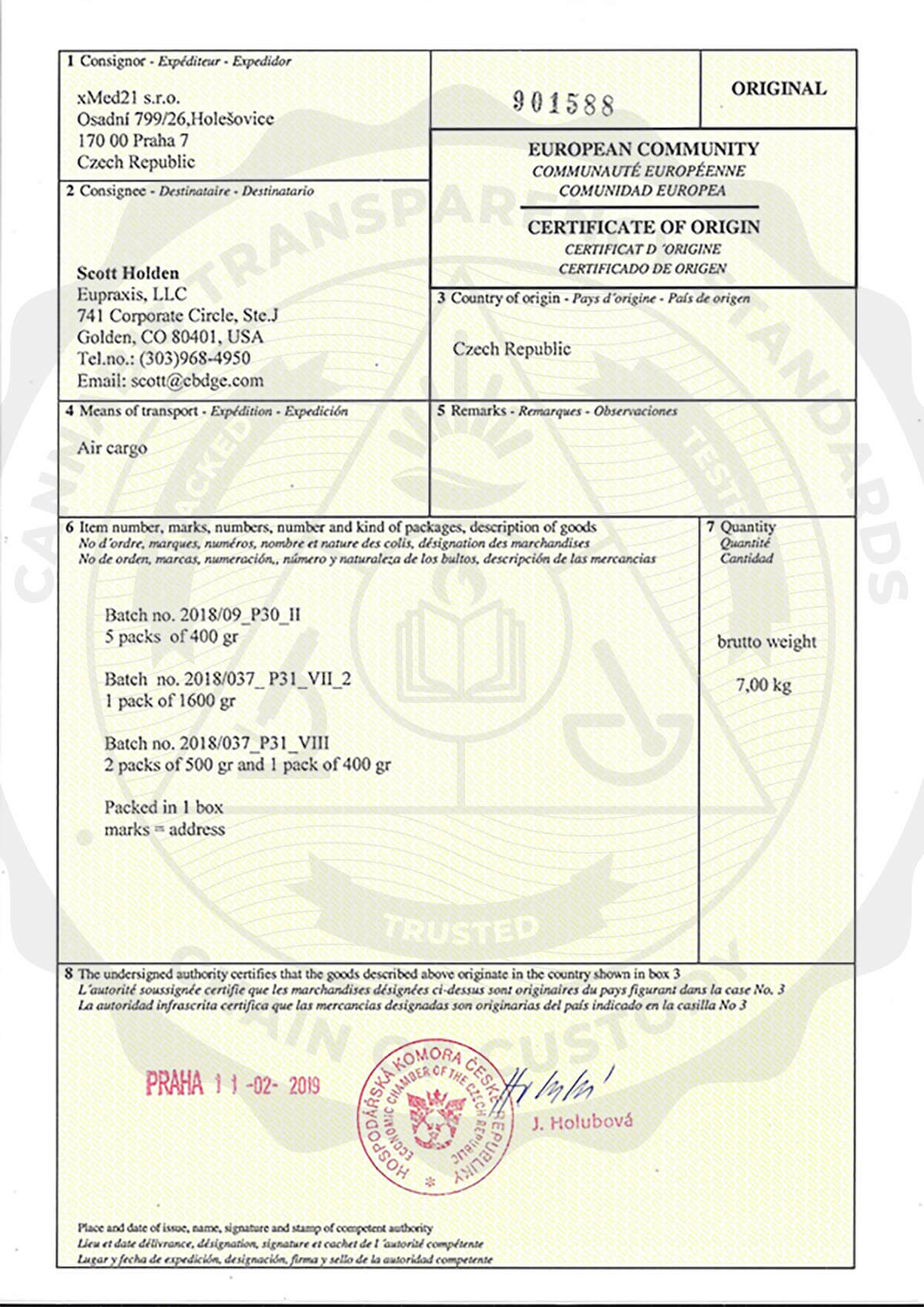 Certificate Of Origin CBD Global